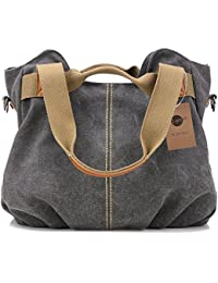 Womens Ladies Casual Vintage Hobo Canvas Daily Purse Top Handle Shoulder Tote Shopper Handbag
