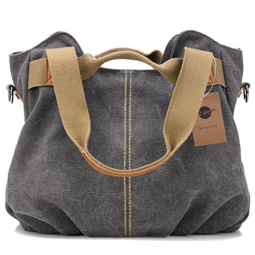 Hand Carry Shopper Tote Bag - Z-joyee Women's Ladies Casual Vintage Hobo Canvas Daily Purse Top Handle Shoulder Tote Shopper Handbag Satchel Bag