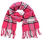 Plaid Cashmere Feel Classic Soft Luxurious Winter Scarf For Men Women (Hot Pink)