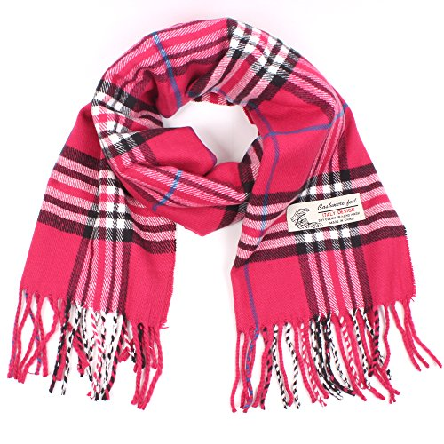 Mens Winter Scarves - Plaid Cashmere Feel Classic Soft Luxurious Winter Scarf For Men Women (Hot Pink)