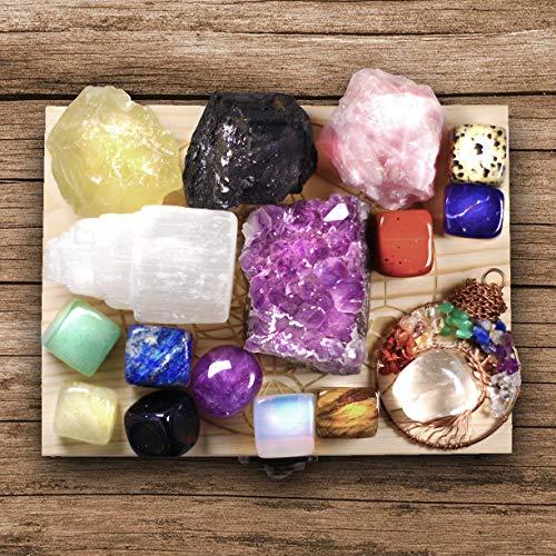 16 Natural Healing Crystals Set in Wooden Box - Tumbled Gemstones, Rough & Raw, Including Selenite Tower, Raw Black Tourmaline, Amethyst Geode, Rose Quartz, Lapiz Lazuli, Citrine & Tiger Eye