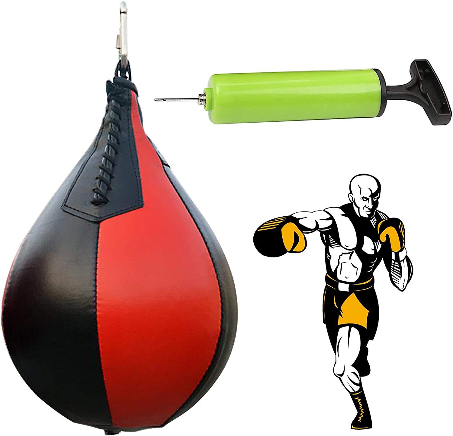 Mounted Strong Durable Boxing Ball with Boxing Reflex Ball,Pump,Perfect for Adult Kids Mem Women Speed Bags for Boxing for Boxing Muay Thai Fitness or Fighting Sport Training