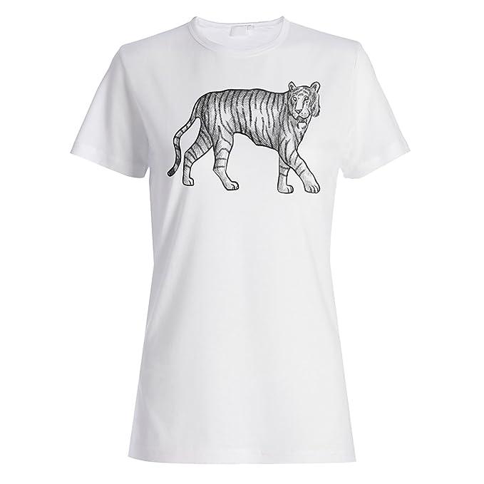INNOGLEN Dibujo De Gato Tigre Camiseta de Las Mujeres p156f: Amazon.es: Ropa y accesorios