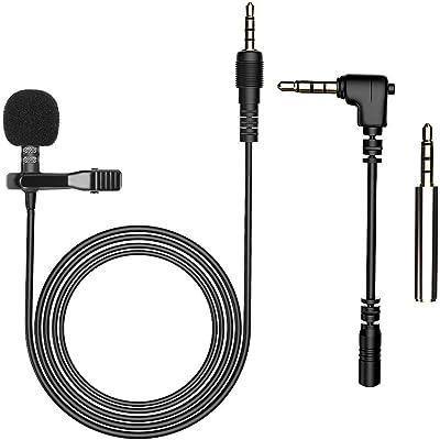 AGPTEK Z02- Mini Micrófono de Solapa 3.5mm Omnidirectional Condensador con 2 adaptadores para Smartphones, PC y Line-in grabadora, Color Negro