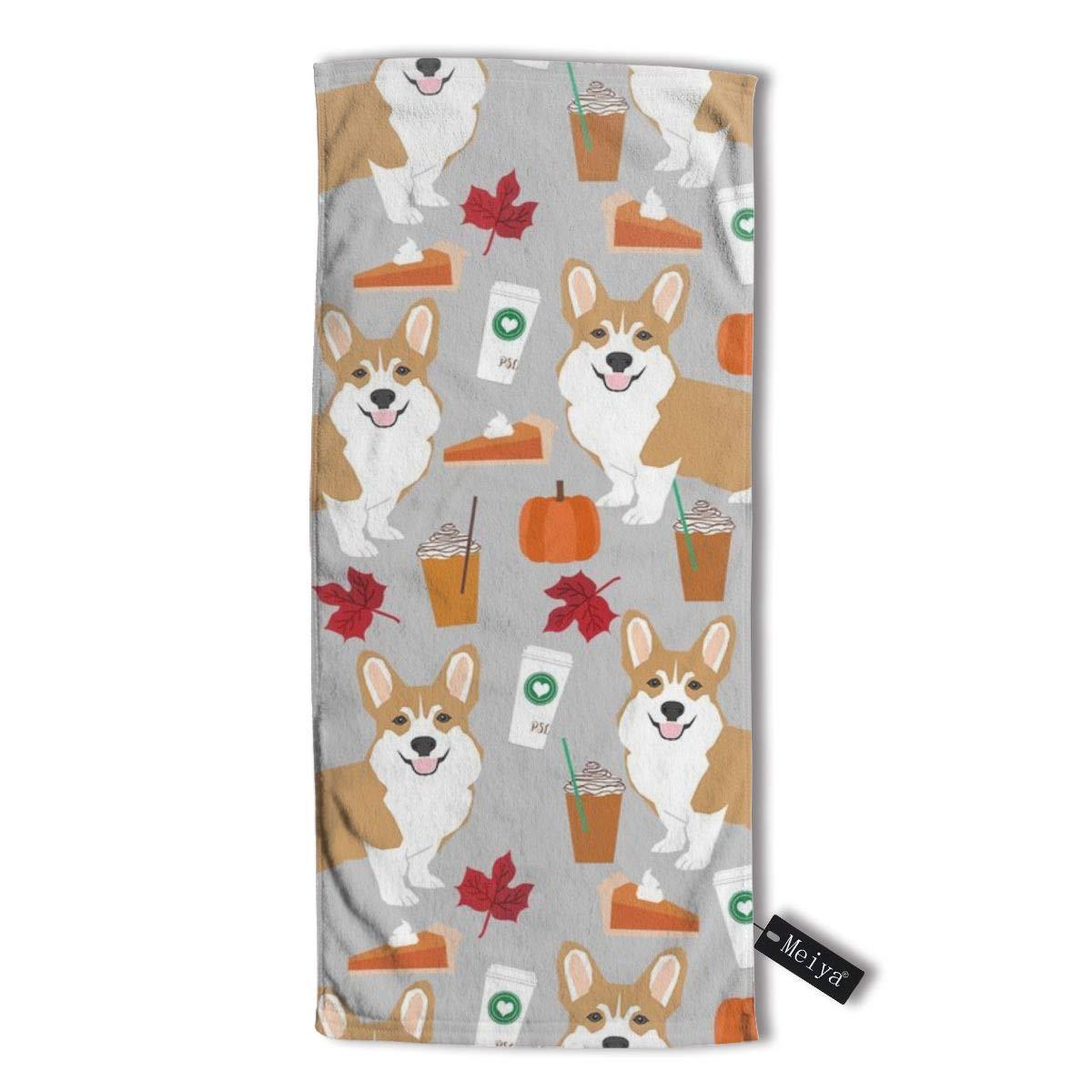 Dog Dogs Coffee Latte Pumpkin Spice Gym and Spa Hand Corgi Corgis Multipurpose Towels for Bath Face Corgi Pumpkin Spice Latte 30 X 70 cm Grey Hand Towel,Travel Towel,Bath Sheet