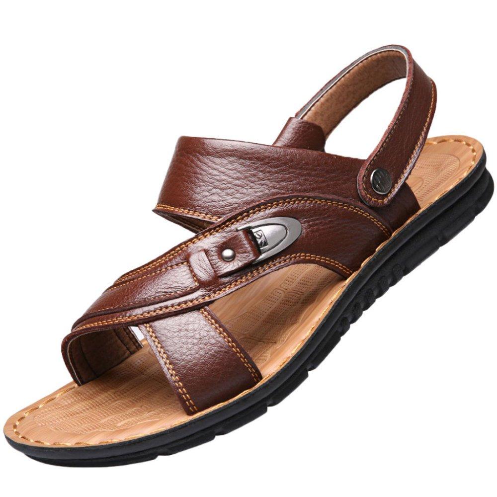snfgoij Sandalias Para Hombres Deportes Al Aire Libre Ajustables Zapatos Cómodos Para La Playa Calzado Abierto De Cuero Genuino De Verano 41 EU|Brown