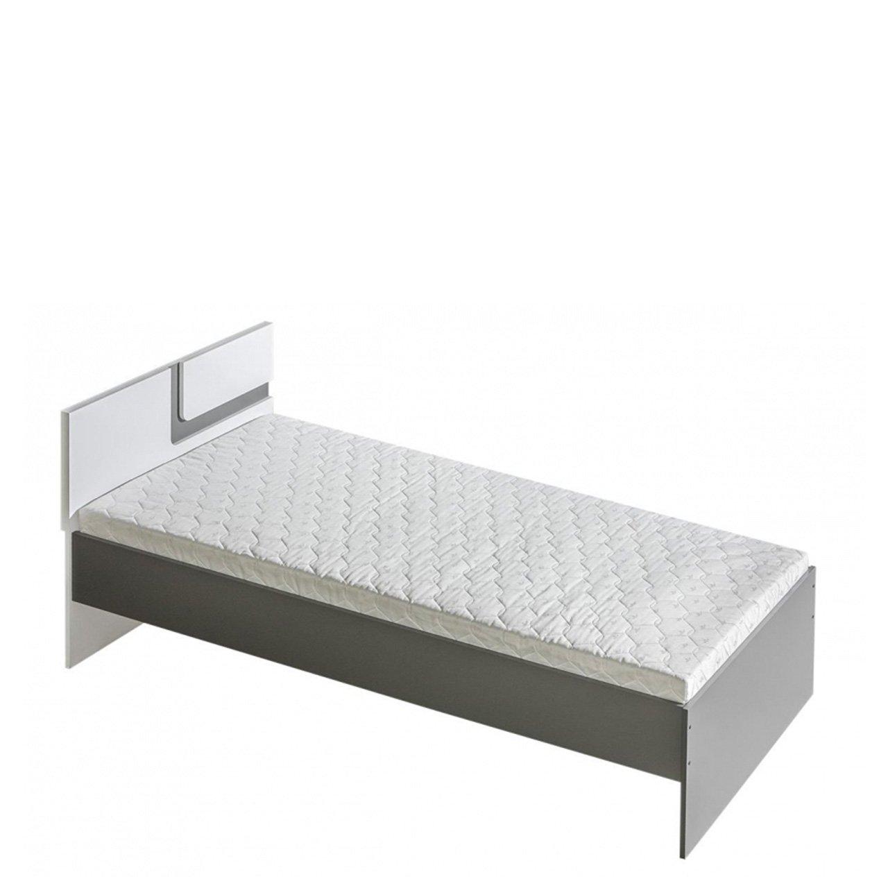 Mirjan24  Jugendbett Apetito AP12, Funktionsbett 90x200 cm, Komfortbett, Bett für Jugendzimmer (Anthrazit Weißszlig;, ohne Bettkasten) Anthrazit   Weiß mit Bettkasten