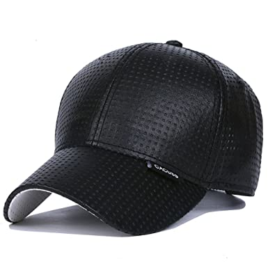 CACUSS Men s Summer Baseball Cap Mesh Cap PU Cap Hat with Adjustable Metal  Buckle (Black 3ae17f753f5e