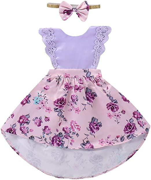 Vincent/&July Girls Striped Print Strap Bowknot Tops+Net Yarn Skirt Set Clothes Outfits