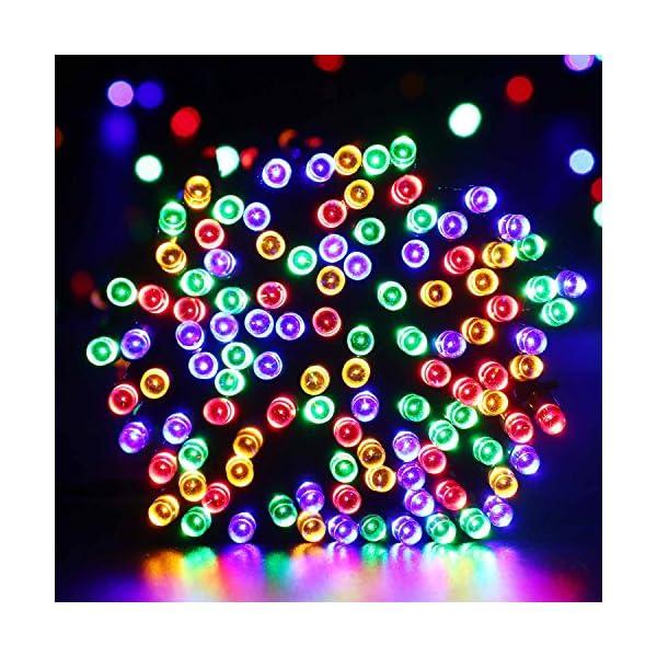 Qedertek Luci Albero di Natale, Catena Luminosa 20M 200 LED, Luci di Natale Esterno ed Interno, Filo verde scuro, Luci Colorate Addobbi Natalizi Esterno, Luci Natalizie da Esterno ed Interno 2 spesavip