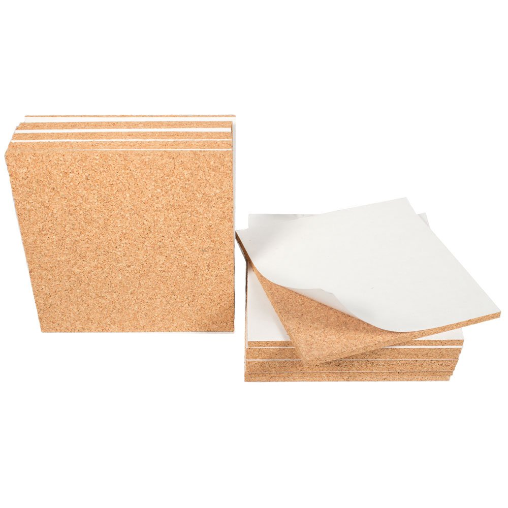 Cork Sheet with adhesive 6In X 6In X 1/4In Thick - 16Pcs set