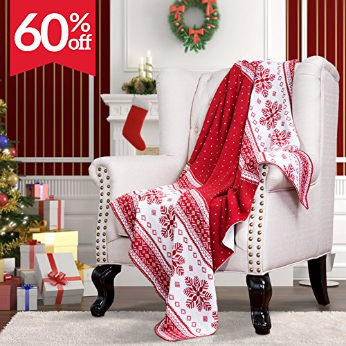 """Knitted Throw Blanket for Sofa and Couch, Lightweight, Soft & Cozy Knit Christmas Throws - Red & White, 50""""x60"""" by Bedsure"""