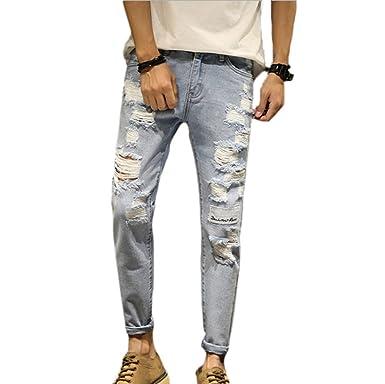 b781bfbd758720 Männer Extreme Zerrissene Jeans Denim Hosen Einfarbig: Amazon.de: Bekleidung