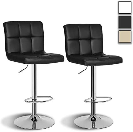 Arvioo Bar Stools Set Of 2 Height Adjustable Bar Chairs Faux Leather 360 Swivel Chair Kitchen Chairs With Backrest And Footrest Kitchen Chairs Swivel Stool Lobby Counter Black Amazon De Kuche Haushalt