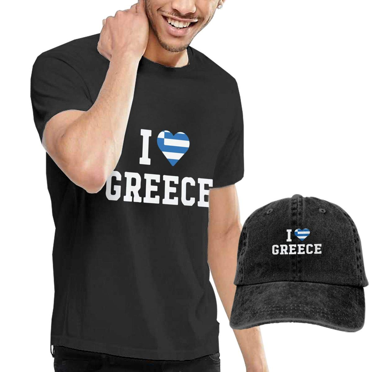 I Love Greece Flag Heart Adult Mens Casual T-Shirt and Baseball Jean Headgear