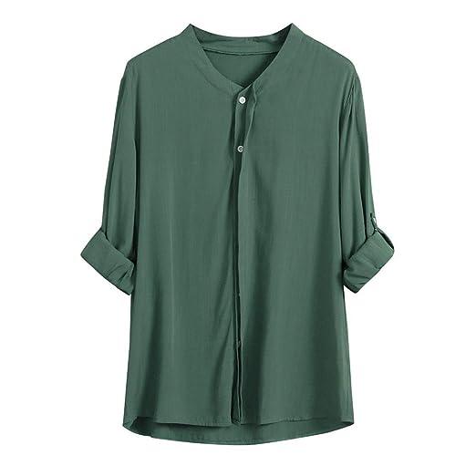 Manga Larga Suelta de Mujer Ajuste el botón hacia Abajo Tops Cuello Alto con Cuello en v Camisetas Blusa ❤ Manadlian: Amazon.es: Ropa y accesorios