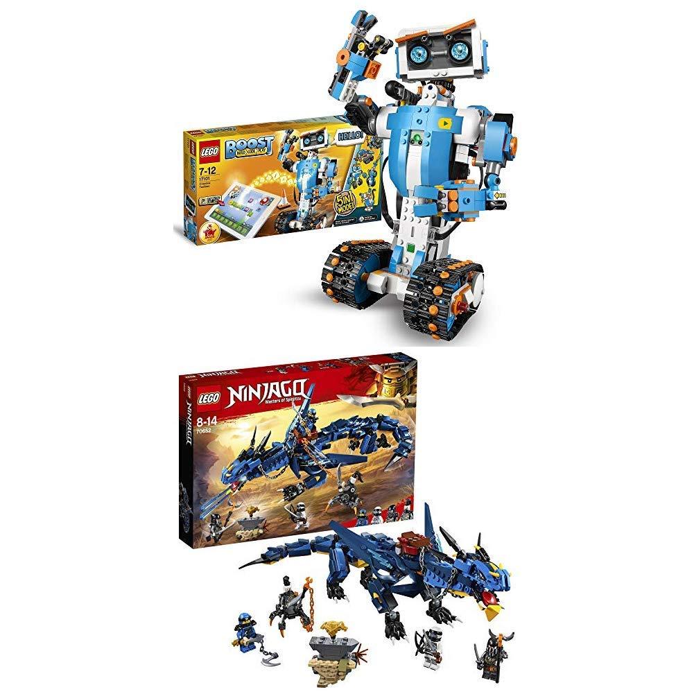 LEGO Boost - Caja de Herramientas Creativas (17101) + Ninjago - Portador de Tormentas Dragón Robótico de Juguete para Programar y Jugar (70652)