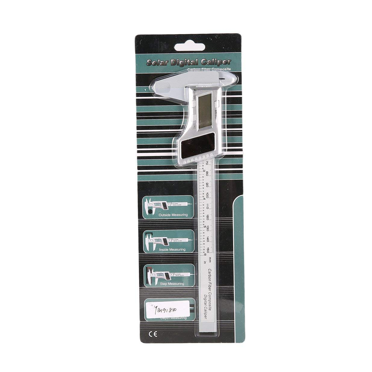 Banbie8409 Calibrador a Vernier Compuesto de Fibra de Carbono Digital LCD de 150 mm y 6 Pulgadas (Plata)