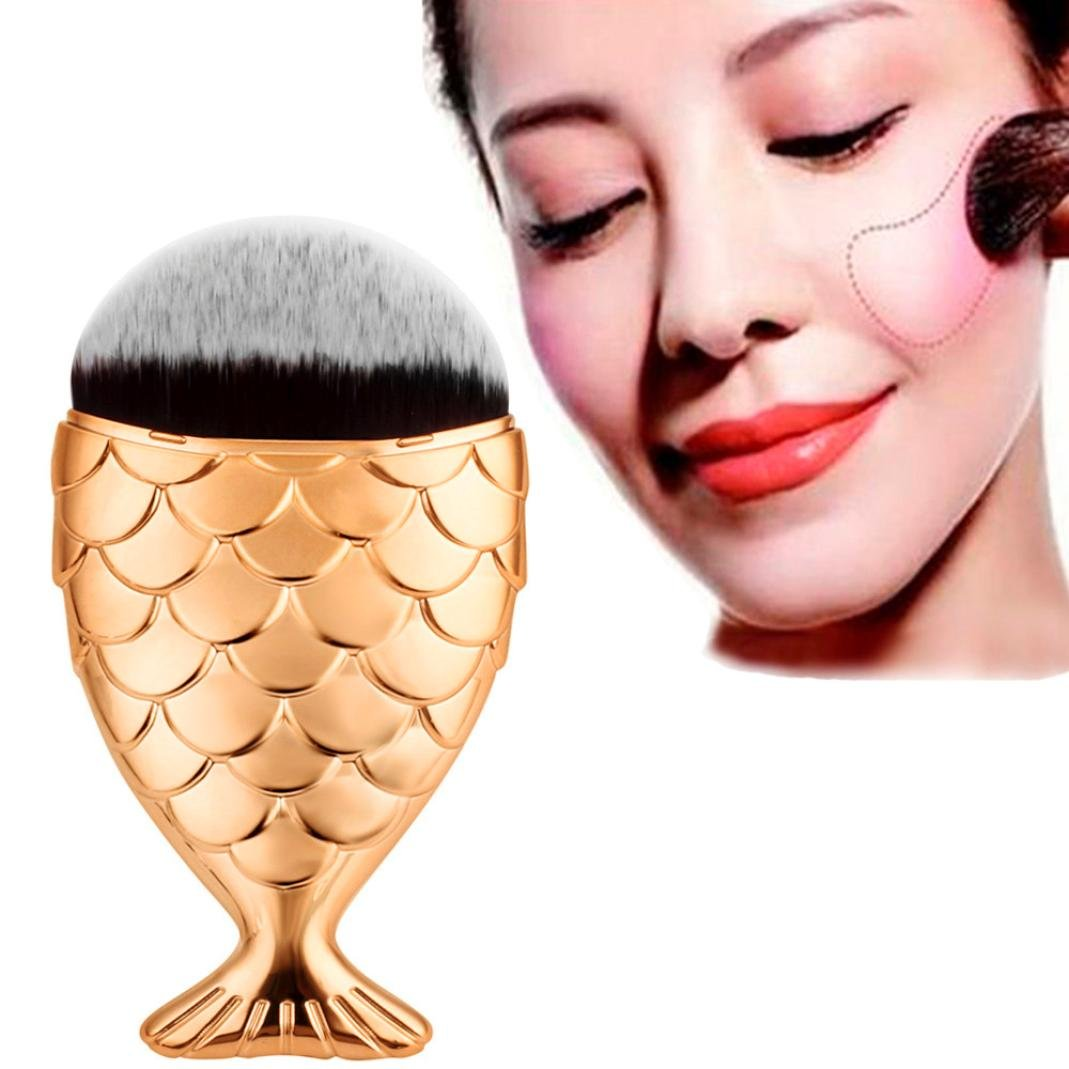 Bolayu Makeup Brush Fish Scale, Fishtail Bottom Brush, Powder Blush, Makeup Cosmetic Brushes Tool (Gold) by Bolayu
