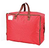 Ocharzy Waterproof Storage Bag with Strong Handles,Travelling Bag, College Carrying Bag,Quilt Pillow Blanket Clothing Storage Bag,Washable,72L (Red)