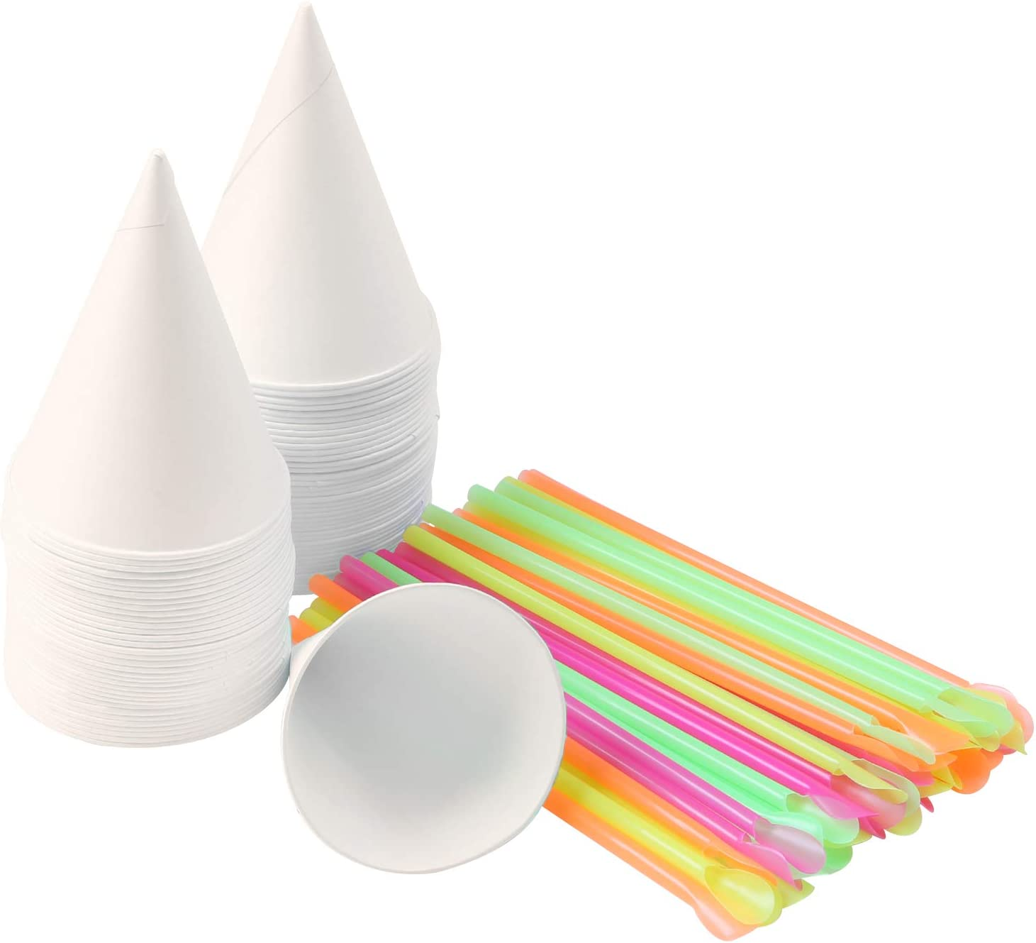 Ruisita 100 Pieces 6 Ounce Snow Cone Cups Cone Water Cups Shaved Ice Cups with Snow Cone Spoon Straws for Home or Company