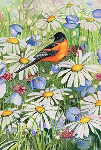 Toland Home Garden Baltimore Oriole and Daisies 12.5 x 18 Inch Decorative Spring Flower Bird Garden Flag
