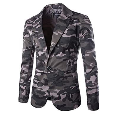 WUAI Mens Suit Jackets Classic Fit Camouflage One Button Blazer Coat Jacket Tops(Grey,US Size S=Tag M)