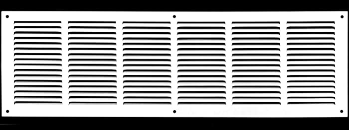 "30""w X 8""h Steel Return Air Grilles - Sidewall and Ceiling - HVAC Duct Cover - White [Outer Dimensions: 31.75""w X 9.75""h]"
