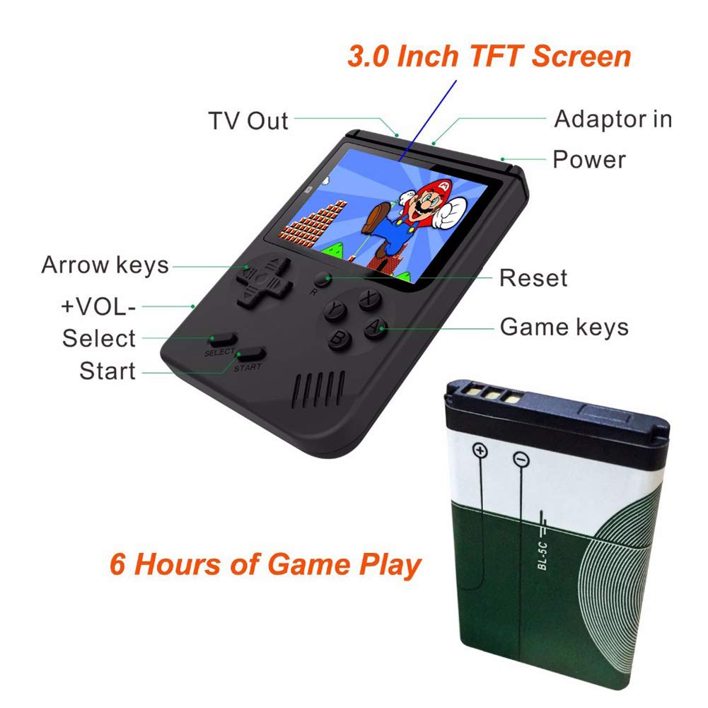 Retro Mini Handheld Game Console Built-in 168 Games 3 Inch Screen Video Game & Extra Controller Support TV Plug & Play Video Games by EVVE (Image #2)