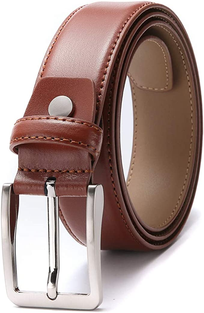 Milorde/'s Men Genuine Leather Belt Single Prong Buckle Fashion Classic Design