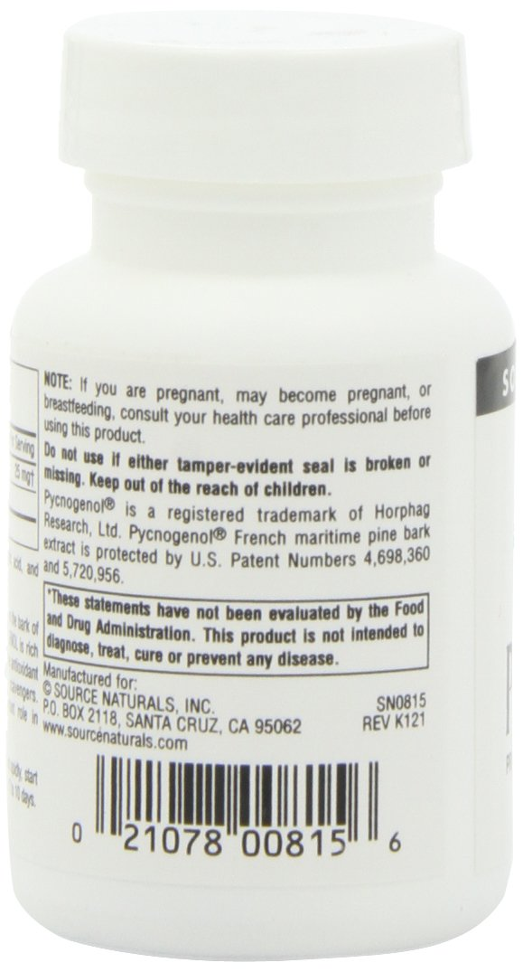 Amazon Com Source Naturals Pycnogenol 25mg Proanthocyanidin Complex