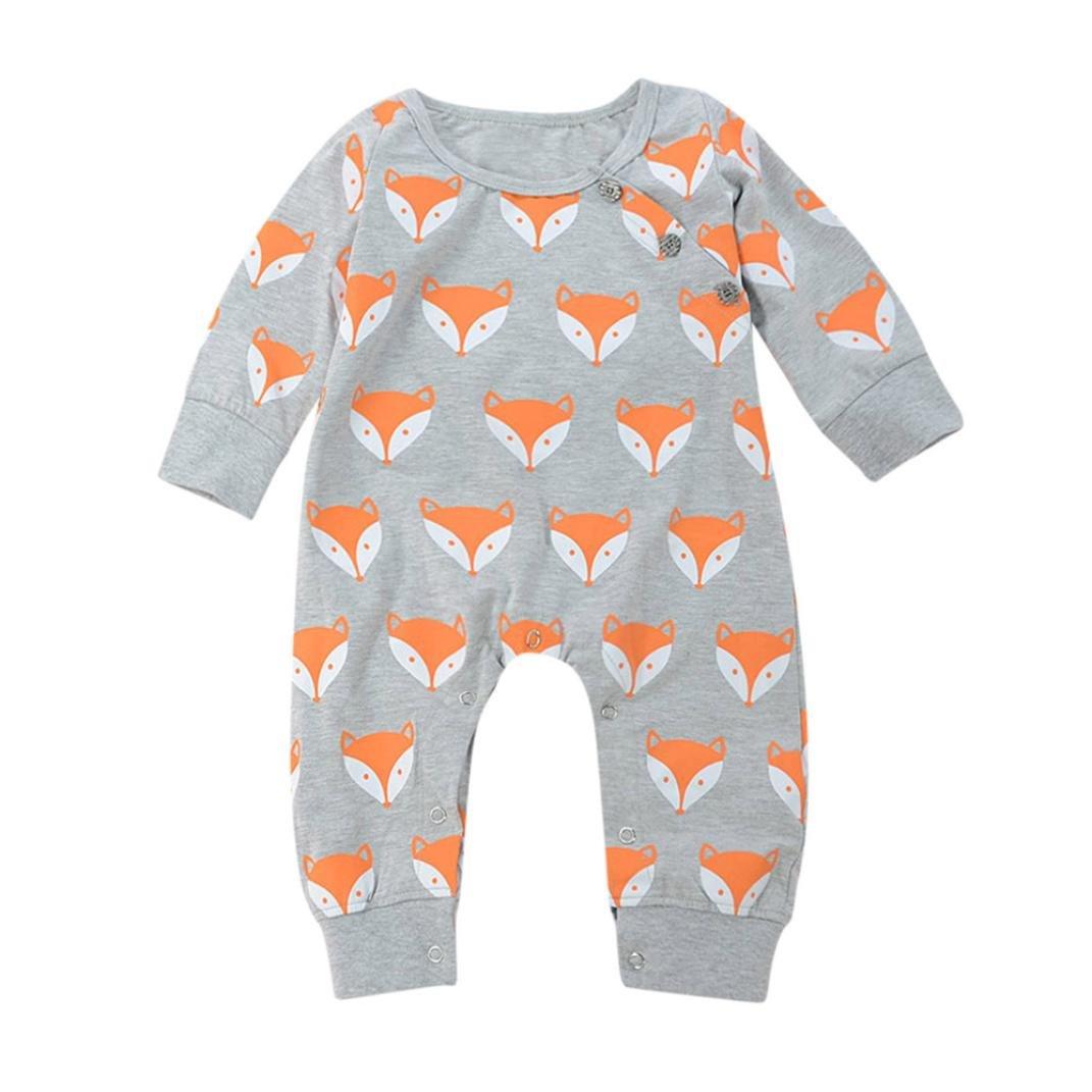 Mono bebé ❤ Amlaiworld Lindo recién nacido bebé niño niña Fox impresión cálida Romper Ropa de mono 2 Años - 7 Años (gris, Tamaño:0-6Mes): Amazon.es: Bebé