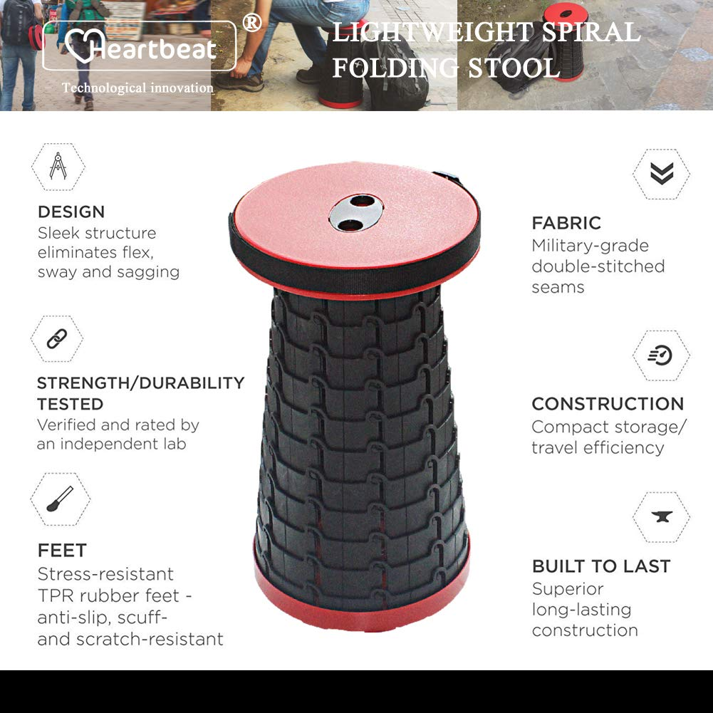 Heartbeat Retractable Folding Stools Sturdy Portable Lightweight Plastic Stool Holds up 330 Lbs Outdoor Travel Camping Fishing Garden Folding Stool