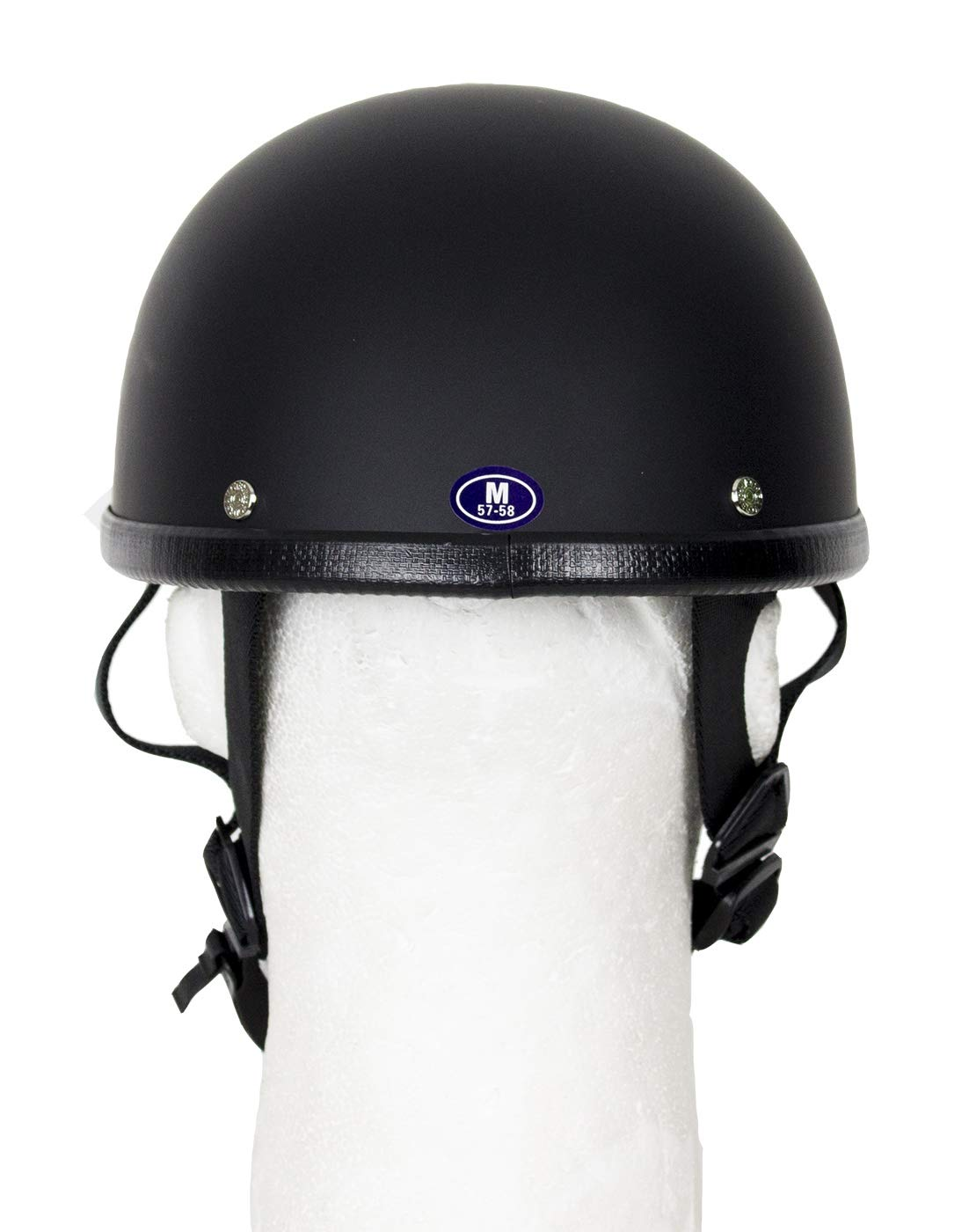 DMD Trading Low Profile Motorcycle Skull Cap Eagle Novelty Matte Flat Helmet W//Adjustable Chin Strap