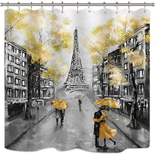 Riyidecor Oil Painting Paris Shower Curtain Set European City Landscape France Eiffel Tower Modern Couple Black Yellow Fabric Waterproof Bathroom Home Decor 72x72 Inch 12 Plastic Shower Hooks -