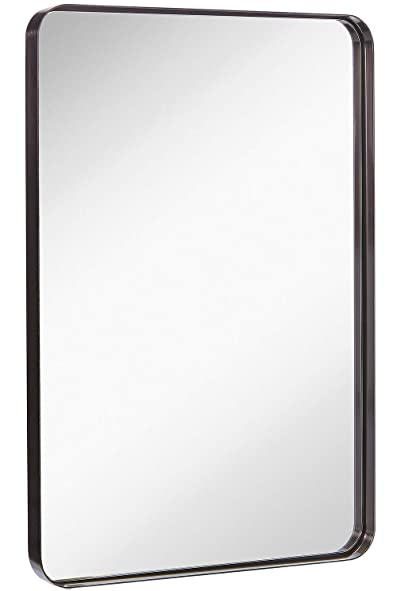 Hamilton Hills Contemporary Brushed Metal Wall Mirror | Glass Panel Black Framed Rounded Corner Deep Set Design | Mirrored Rectangle Hangs Horizontal or Vertical (24