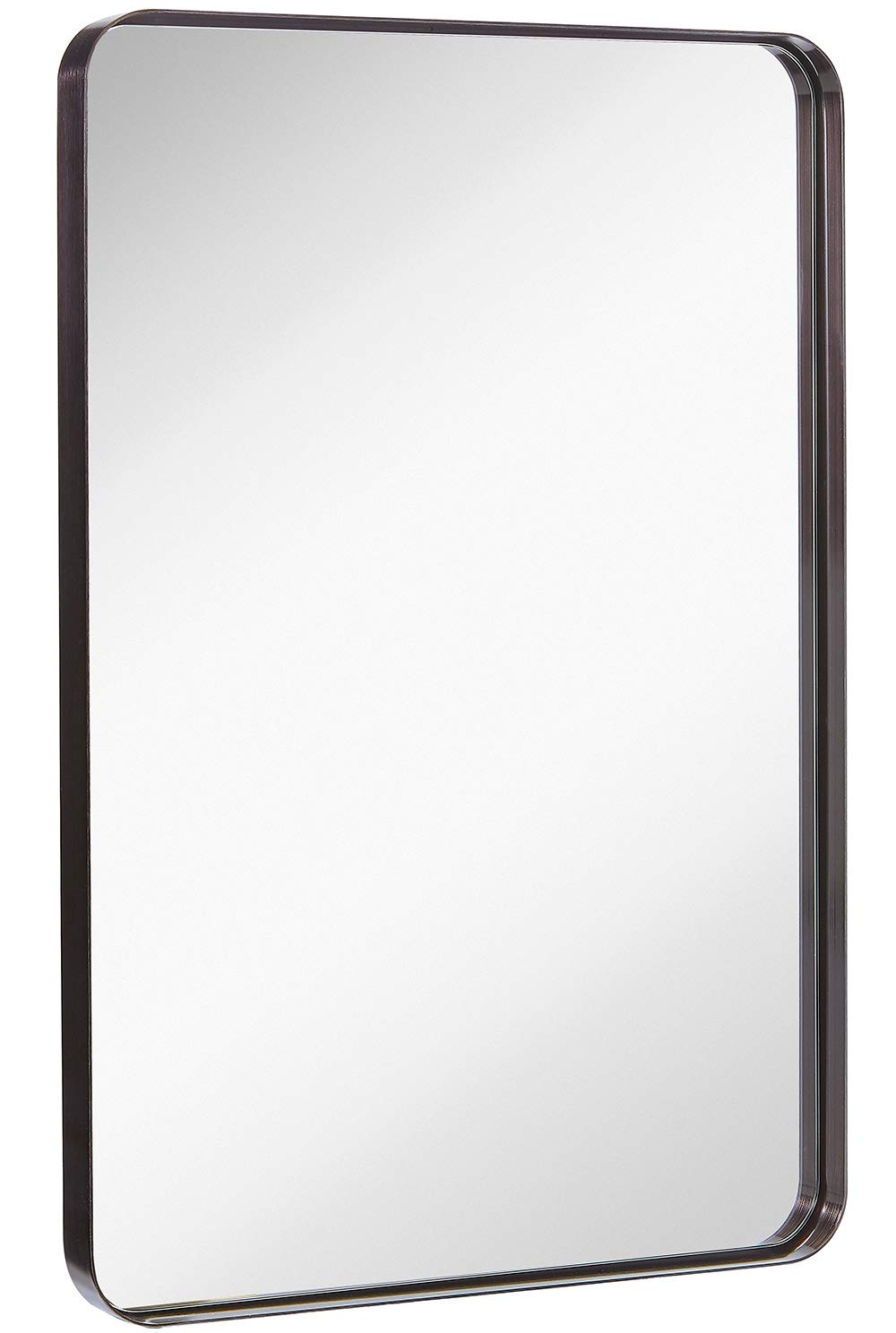 Hamilton Hills Contemporary Brushed Metal Wall Mirror | Glass Panel Black Framed Rounded Corner Deep Set Design | Mirrored Rectangle Hangs Horizontal or Vertical (24'' x 36'')