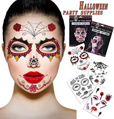 Halloween Temporary Scar Blood tattoos 4 Sheet Face Tattoos Kit :Skeleton Day of the Dead Temporary 2 Sheet Halloween Prom Spider, Blood, Scar, Bat Costume Tattoos 2 Sheet