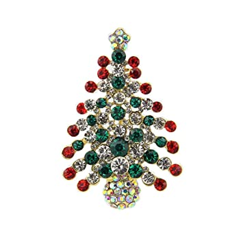 Multi-Colored Crystal Christmas Tree Brooch Pin Christmas Gift ...