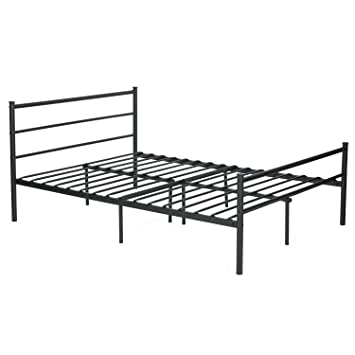 metal bed frame full size greenforest two headboards 6 legs mattress foundation black platform bed