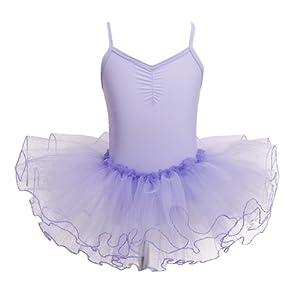 4f9d9fd08d3 TiaoBug Tutu Ballet Fille Enfant Tutu Robe filles V-Cou Costume danse  Justaucorps Fille Jupe