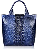 Pijushi Embossed Crocodile Leather Tote Top Handle Handbags 6061 (One Size, Blue)