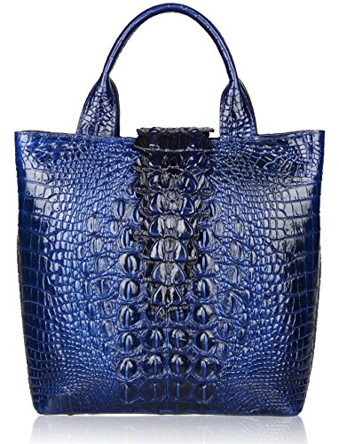 Pijushi Embossed Crocodile Leather Tote Top Handle Handbags 6061 (One Size, Blue) by PIJUSHI