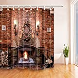 HiSoho Wood Burnning in Fireplace under the Red Brick Shower Curtain 71X71 inches Mildew Resistant Polyester Fabric Bathroom Fantastic Decorations Bath Curtains Hooks Included