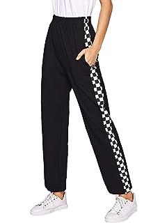 6c262de6f1 SheIn Women's Checkered Elastic Waist Straight Leg Penal Sweatpants with  Pockets
