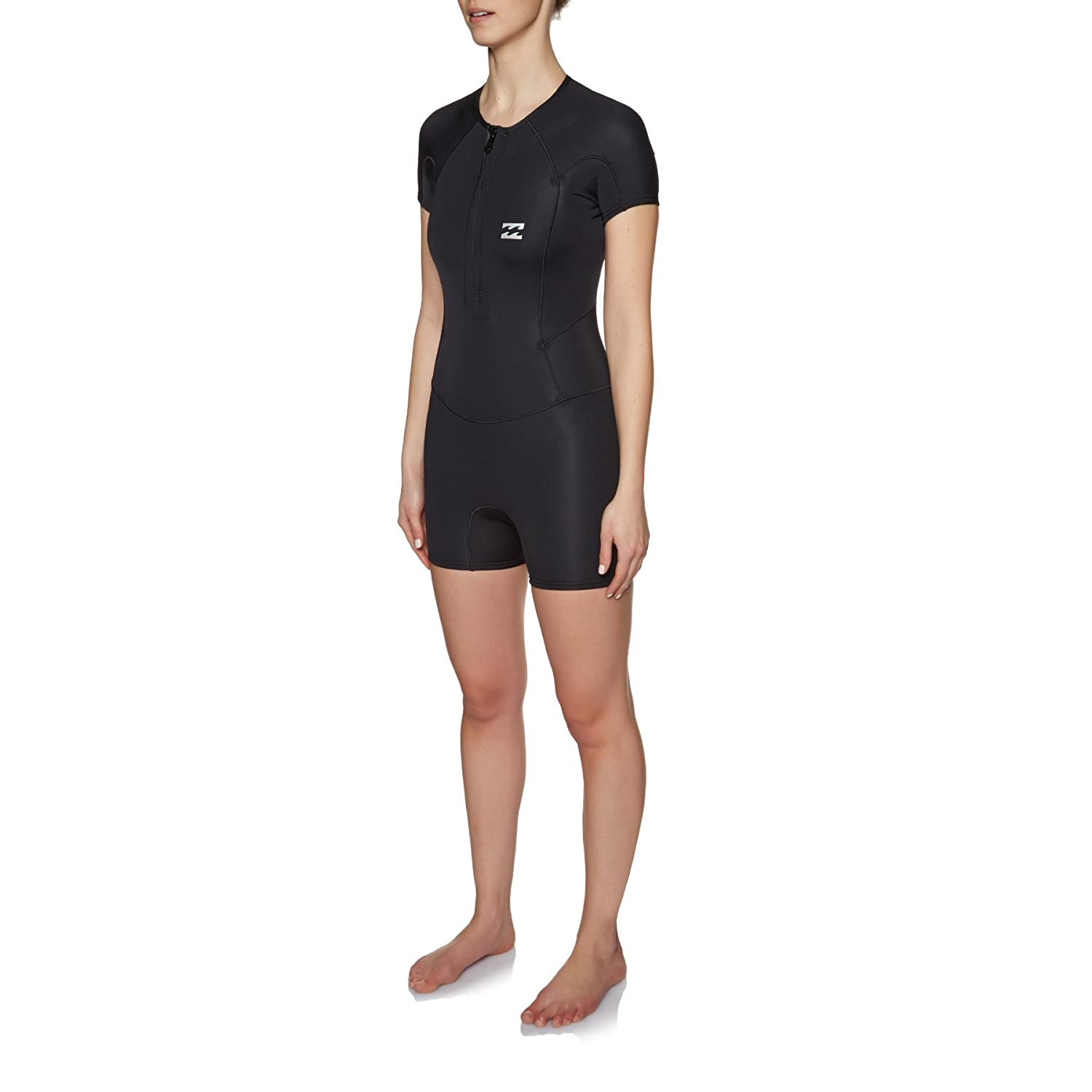 5b44835634 Amazon.com  Billabong Womens Synergy 1MM Short Sleeve Front Zip Spring Shorty  Wetsuit Black  Sports   Outdoors