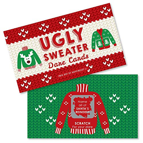 Big Dot of Happiness Ugly Sweater - Holiday & Christmas Party Game Scratch Off Dare Cards - 22 Count -
