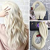 Moresoo 18 Inch Skin Weft Adhesive Tape Remy Human Hair Extensions 40 Pieces 100 Grams Per Pack #60 Platinum Blonde Soft and Silky Natural Hair Glue in Real Hair Extensions