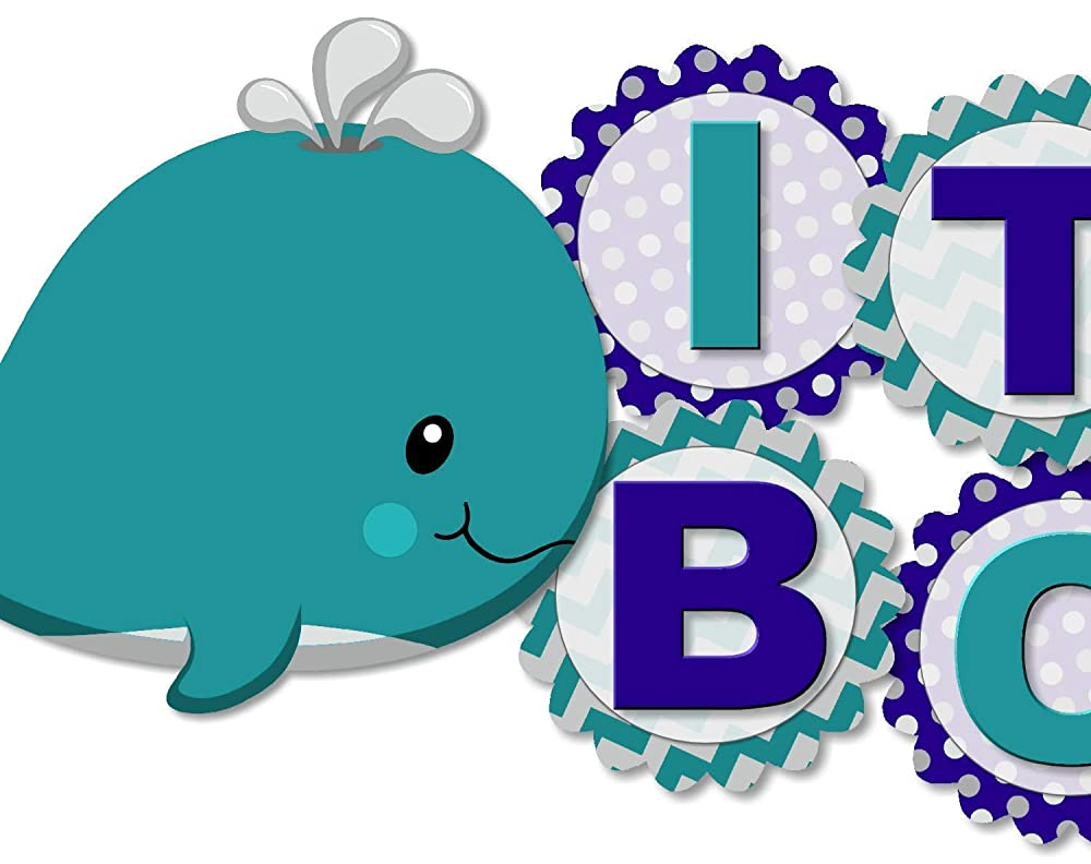 Whale Square Personalized Baby Shower Stickers