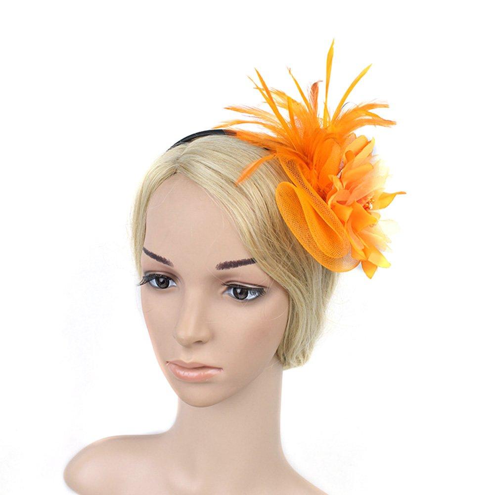 SZTARA Netting Feathers Big Flower Headband Party Girls Women ... 7ba783357307